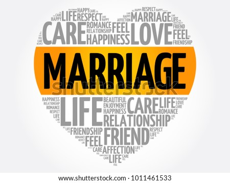 Marriage word cloud collage, heart concept background
