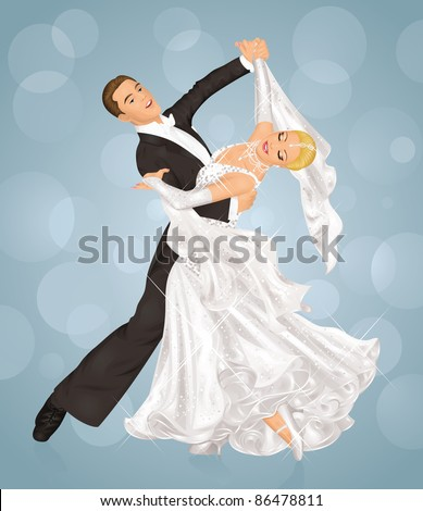 Married couple is ballroom dancing on the blue background.