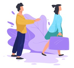 Married couple splitting up, divorce or break up of boyfriend and girlfriend. Woman leaving man behind, lonely male character stretching hands calling female back. Rejection of partner, vector