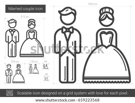 Married couple vector line icon isolated on white background. Married couple line icon for infographic, website or app. Scalable icon designed on a grid system.