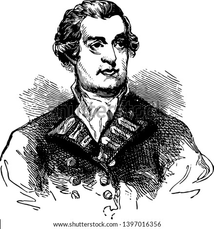 Marriott Arbuthnot 1711 to 1794 he was a British admiral who commanded the royal navys north American station during the American war for Independence vintage line drawing or engraving illustration