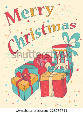 marry christmas card with hand
