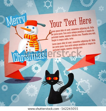 Marry Christmas cute retro banner on the craft paper texture with cat and snowman, with merry christmas greeting and place for your text.