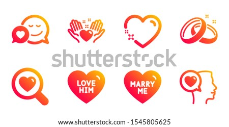 Marry me, Hold heart and Search love line icons set. Love him, Heart and Wedding rings signs. Dating, Romantic talk symbols. Wedding, Friendship. Love set. Gradient marry me icons set. Vector