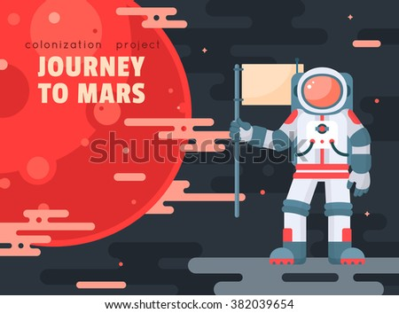Mars Colonization Project Poster With Astronaut Holding ...