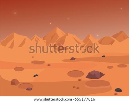 Mars landscape, vector space background