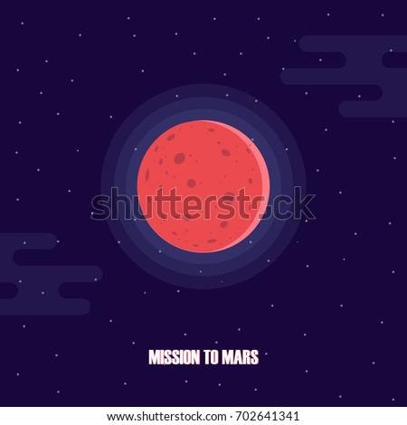 Mars planet exploration. Mission to Mars. Mars colonization project. Vector illustration.