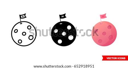 mars planet icon of 3 types