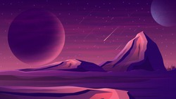 Mars purple space landscape with a large planets, starry sky, meteors and mountains. Space landscape with a huge planet on the horizon