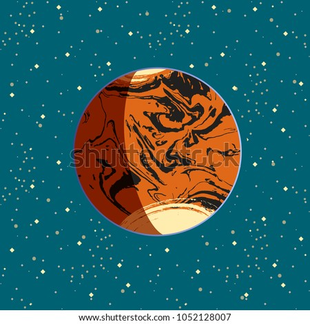 Mars - red globe terrestrial exo planet on blue space stars background. Futuristic cartoon scenery. Vector space illustration in comics style. Mars colonization project. Universe concept poster