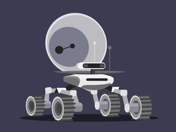 Mars rover isolated on blue object. Modern interactive stand in exhibition astronomy museum. Vector illustration of aeronautics equipment, space technology, study of galaxy, planets solar system