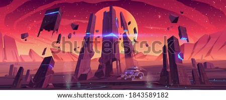 Mars rover on red planet surface explore alien landscape. Robotic autonomous vehicle for space discovery and scientific research, futuristic background with glowing rocks, cartoon vector illustration