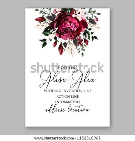 Marsala dark red peony wedding invitation vector floral background