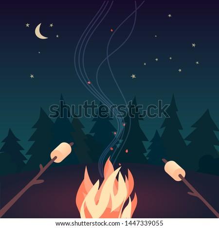 marshmallow roasting hand drawn