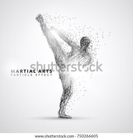 martial art kicking particle