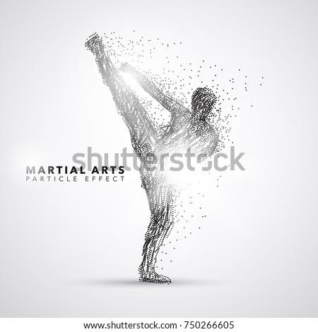 martial art kicking particle