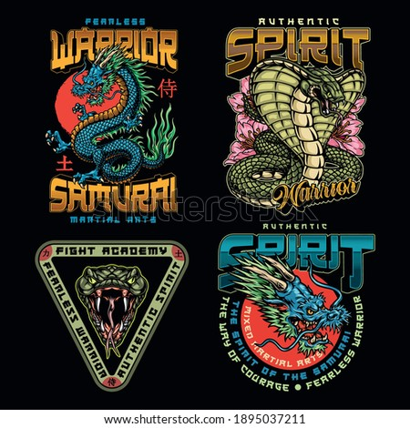 Martial arts academy colorful labels set with inscriptions fantasy dragons and angry snakes isolated vector illustration. Japan translation - Samurai, Warrior, Power
