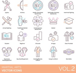 Martial arts icons including jujutsu, archery, health orientated, spirituality oriented, unarmed fighting, armed, traditional, contemporary, master, apprentice, student, beginner, all levels, ages.