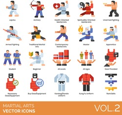 Martial arts icons including jujutsu, archery, health, spirituality oriented, unarmed fighting, armed, traditional, contemporary, master, apprentice, student, beginner, all levels, karategi, rank belt