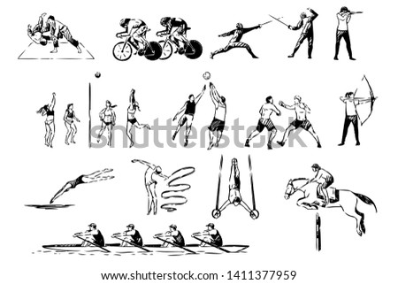 Martial arts, judo, boxing sparring, cycling, fencing duel, volleyball, basketball game, archery, healthy lifestyle set. Sport activities, active hobbies concept sketch. Hand drawn vector illustration