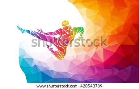 Martial arts jump kick color rainbow silhouette. Karate fighter