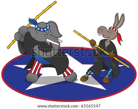 Martial arts political mascots. Democrat donkey and Republican elephant preparing to do battle.