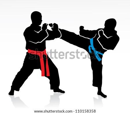 Martial arts silhouettes - vector illustration