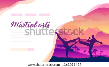 Martial arts vector landing page template. Aikido, judo web banner layout design. Extreme sports website homepage design. Asian traditional battles minimalistic illustration. Fighters silhouettes
