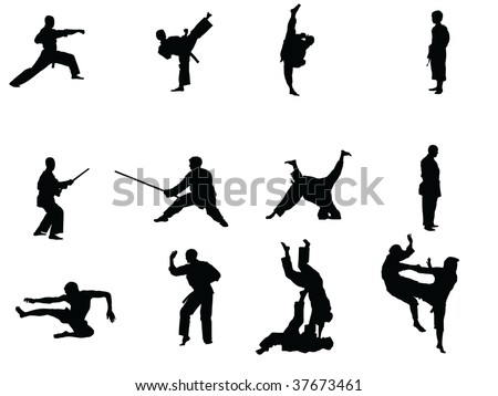 martial arts vector silhouettes