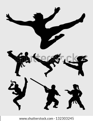 martial silhouettes set smooth