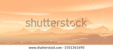 Martian orange surface panorama landscape background in dust storm, sand hills in dust on a deserted planet, sandstorm landscape background