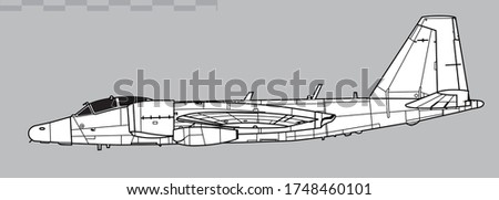 Martin General Dynamics RB-57F Canberra. Vector drawing of high-altitude strategic reconnaissance aircraft . Side view. Image for illustration and infographics.