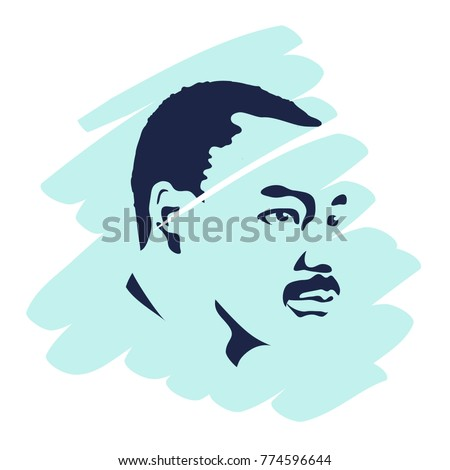 Martin Luther King Day flyer, banner or poster. Mlk background with beautiful portrait of Martin Luther. Vector illustration