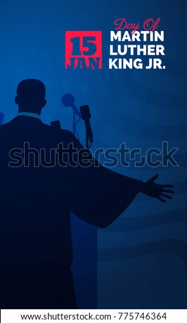 Martin Luther King Day flyer, banner or poster. Mlk background with silhouette of Martin Luther King and waving us flag. Vector illustration