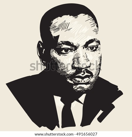 Martin Luther King. Hand drawn vector portrait .