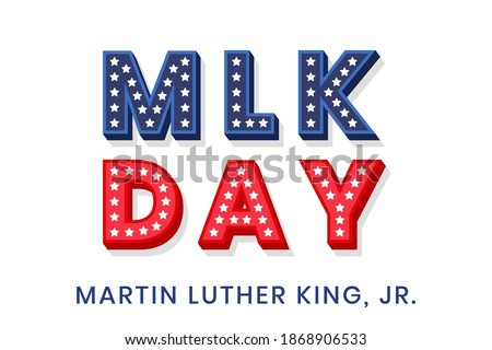 Martin Luther King Jr. decorative dimensional text design with stars. MLK day text template for greeting card, banner or flyer. Vector illustration for USA national holiday Photo stock ©