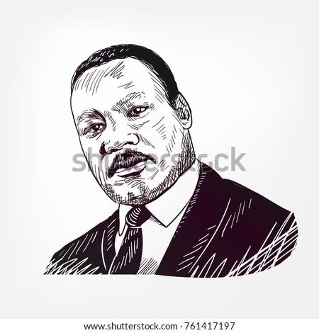 Martin Luther King Vector Sketch Illustration Ez Canvas