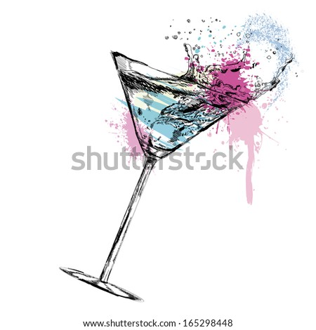 martini cocktail with vector