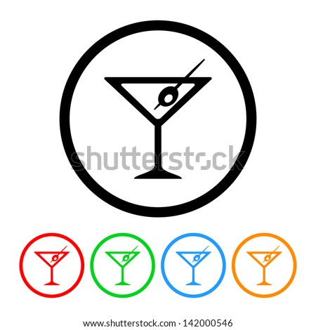 Martini Glass Icon in Vector Format with Four Color Variations