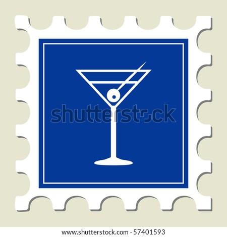 Martini Glass Sign Stamp