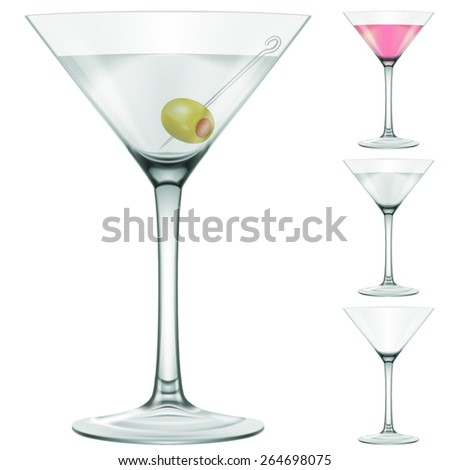 martini glass three variations