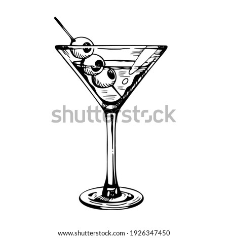 Martini glass with olives. Hand drawn alcohol cocktail, vector sketch Photo stock ©