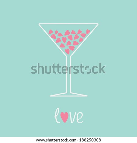 martini glass with pink hearts