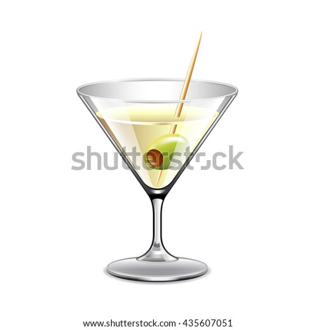 martini in glass isolated on