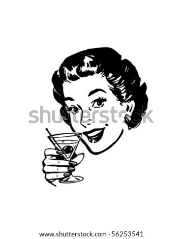 Martini Toast - Retro Clip Art