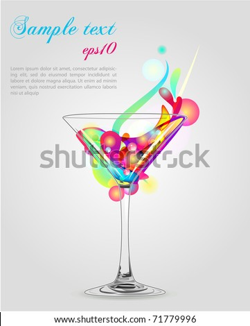 martini vector glass with