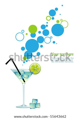 martini with ice and lime