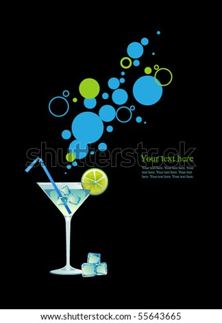Martini with ice and lime on black background.