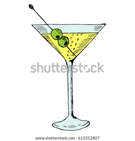 martini with olive in glass