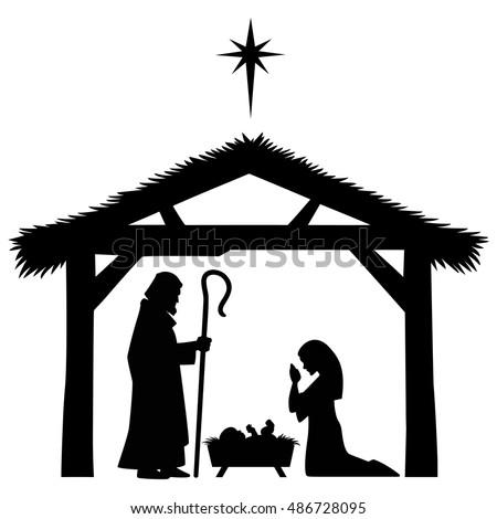 Mary, Joseph and Jesus Silhouette Stock photo ©
